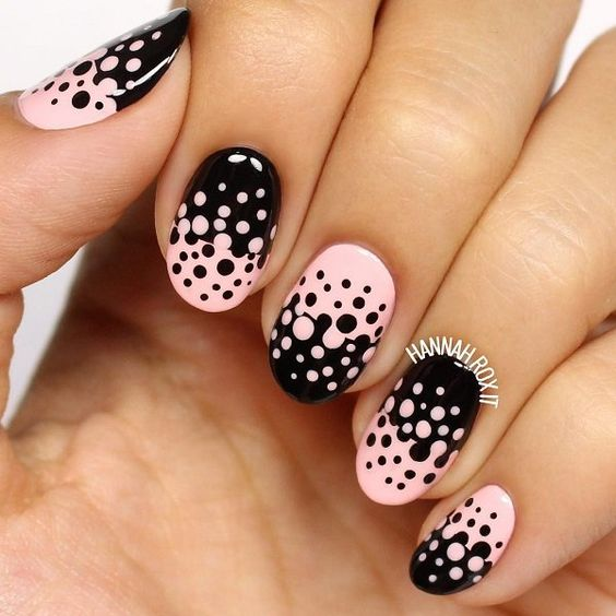 Best pink and white Polka dots nail art