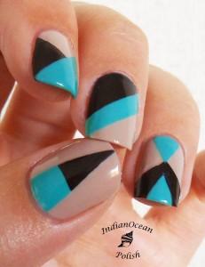 Black and blue Chevron design nail art