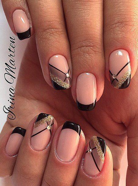 Black beauty stone Contrast nail art