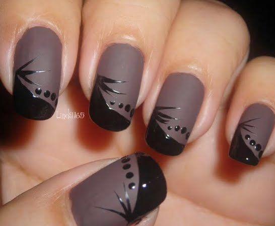 Black matte Contrast nail art