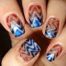 Blue and brown Chevron design nail art