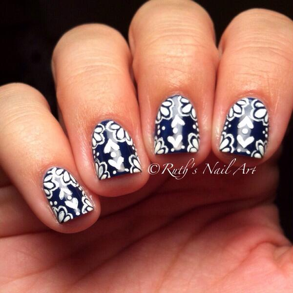 Catchy blue printed pattern Tiles nail art