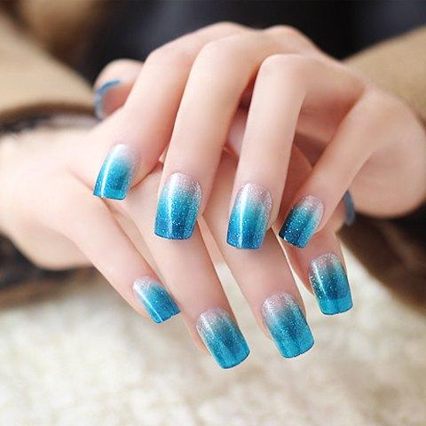 Charming blue glitter Ombre nail art