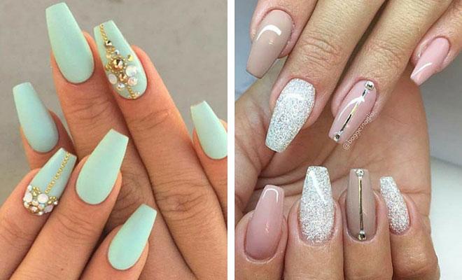 Charming grey matte glitter Stones nail art