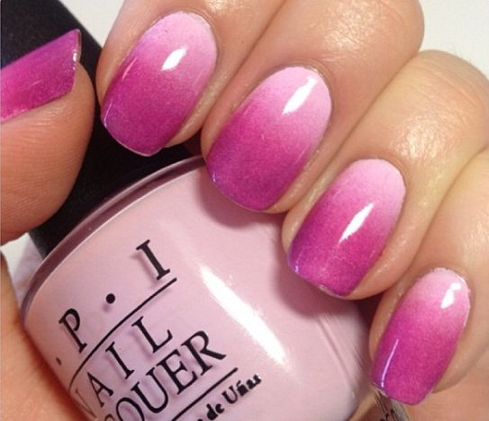 Charming pink and purple look design Ombre nail art