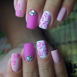 Charming pink purple design Three color nail art