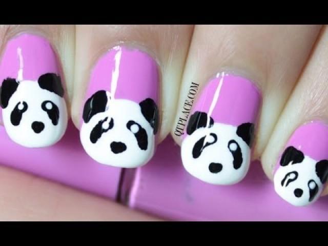 Charming purple panda Animal print nail art