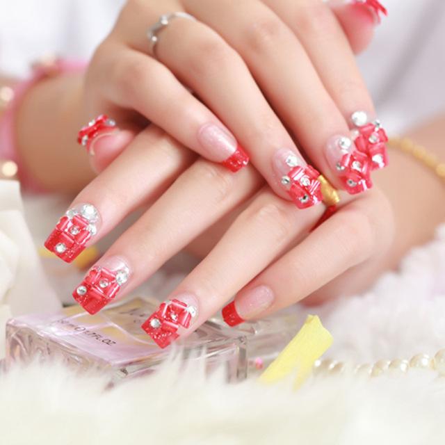 Charming red stone design Wedding nail art