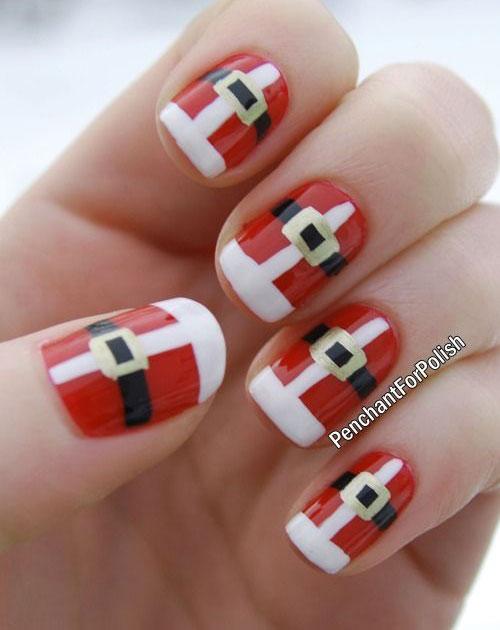 Christmas santa dress Contrast nail art