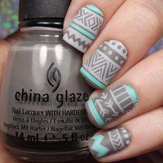 Classy grey print design Matte nail art