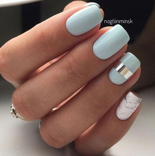 Classy print Marble nail art