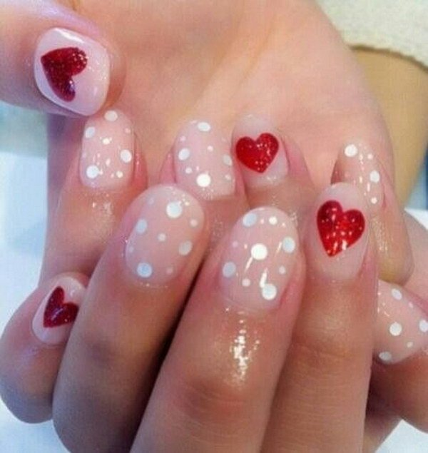 Cool dotted red Heart nail art