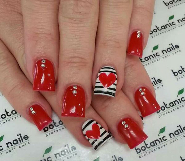 Cool red Heart nail art