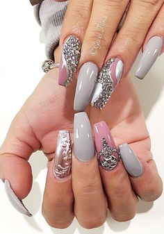 Creative gray stone Edgy nail art