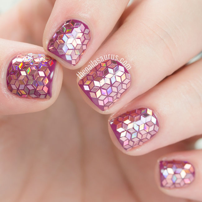 Creative purple stones Glitter nail art