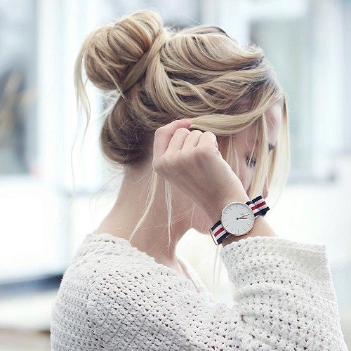 Cute College girl look bun Casual Hairstyle