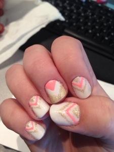 Cute baby pink Chevron design nail art