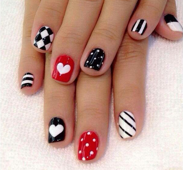 Cute black & red combo Heart nail art
