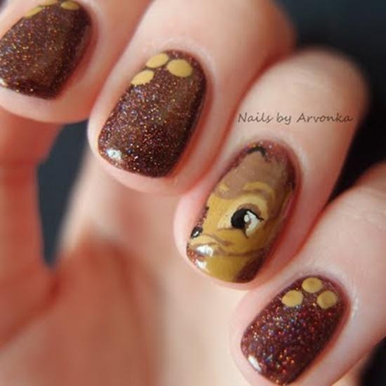 Cute brown glitter Contrast nail art