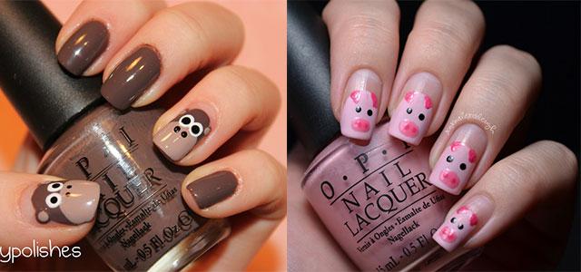 Cute brown monkey and pink pig Animal print nail art