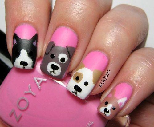 Cute colorful puppies Animal print nail art