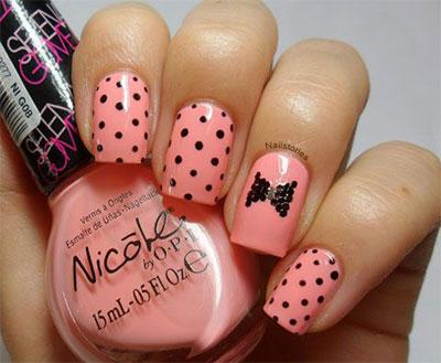 Cute pink black Polka dots nail art