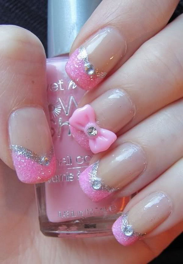 Cute pink glitter Stones nail art