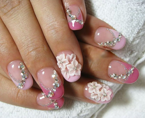 Cute pink white flower design Stones nail art