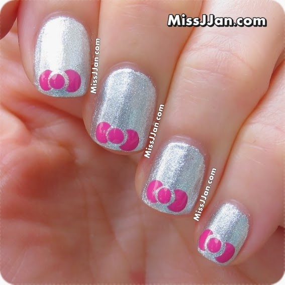 Cute silver pink design Wedding nail art