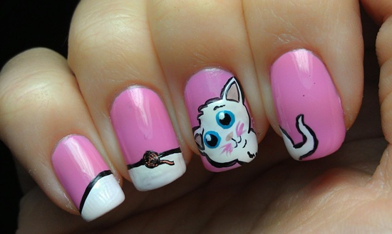 Cute single nail Hello kitty nail art