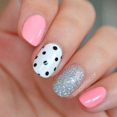Cute small pink white black dotted glitter Three color nail art