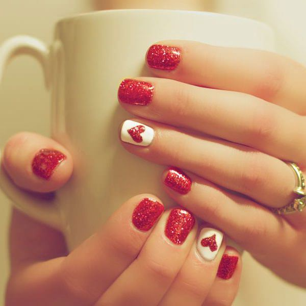 Cute small red Heart nail art
