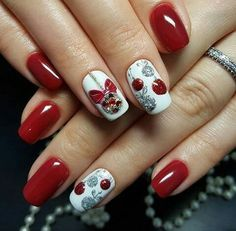 Cute stone Christmas nail art