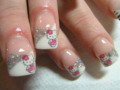Cute white Hello kitty nail art