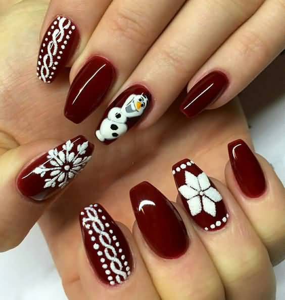 Dark red snowman printed Christmas nail art