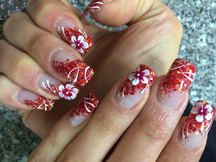 Delicate red rose sparkling design Wedding nail art