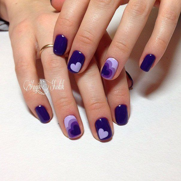 Delicate small blue Heart nail art