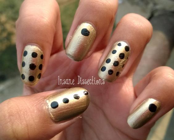 Easy Golden black Polka dots nail art