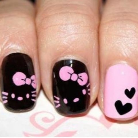 Easy black heart Hello kitty nail art