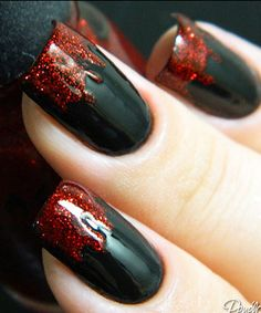 Easy black & red Contrast nail art