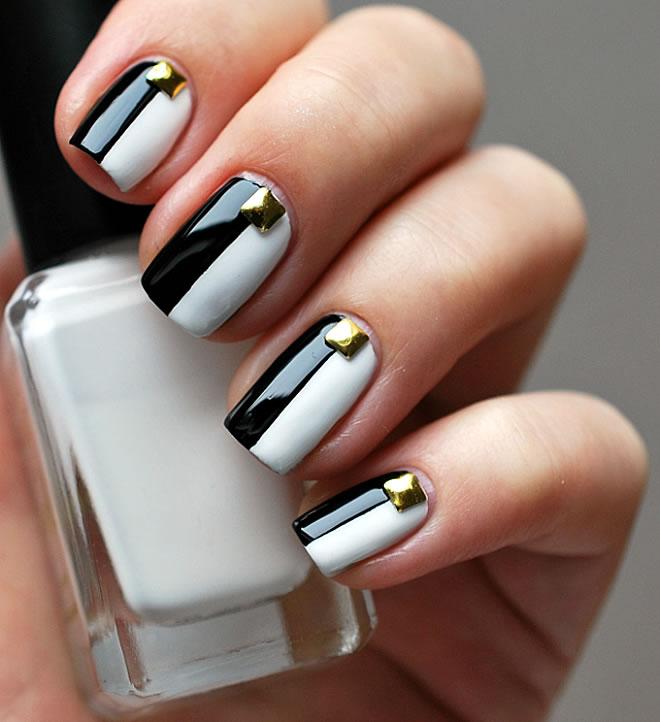 Easy contrast black & white Classy nail art