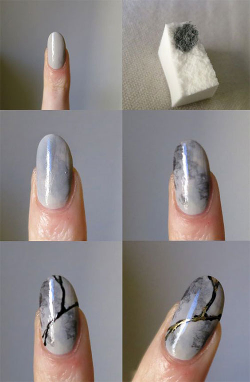 Easy design Marble nail art