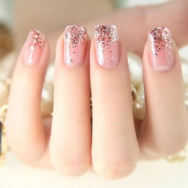 Easy golden gel Wedding nail art