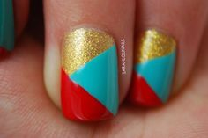 Easy golden red blue design Three color nail art