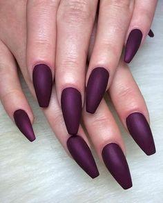 Easy purple sharp Matte nail art