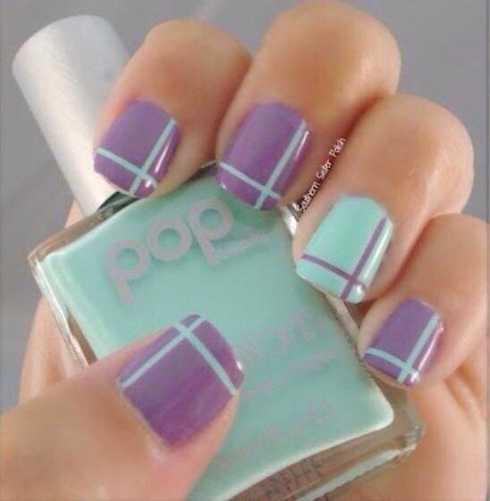Easy purple side design Stripe nail art