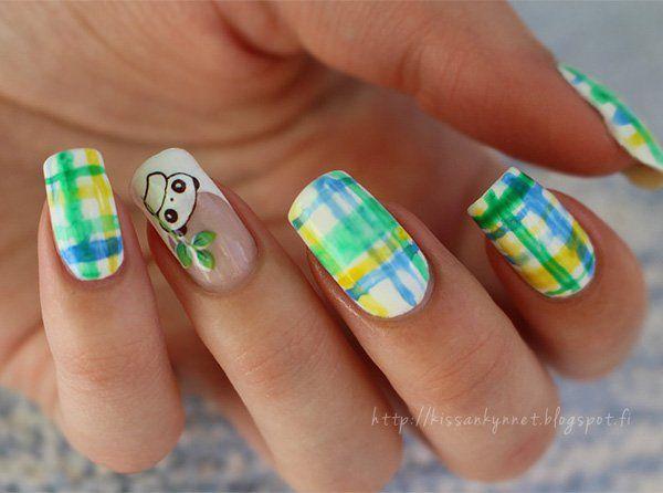 Easy watercolor print Tiles nail art