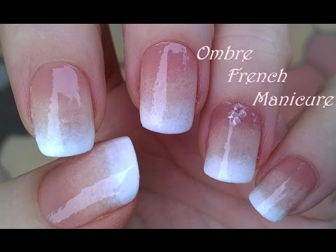 Easy white light shade gel Ombre nail art