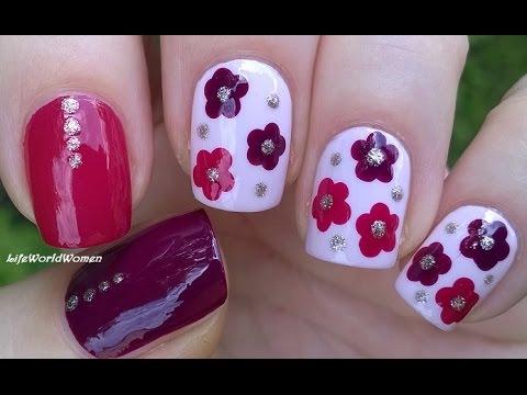 Elegant pink purple printed Three color nail art