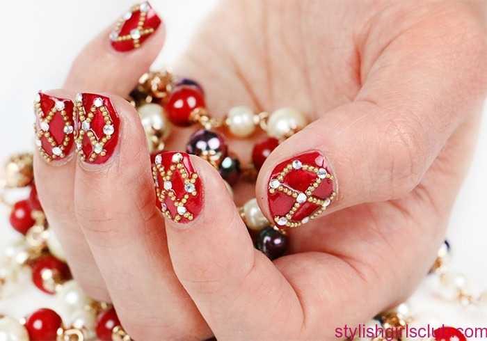 Elegant red stones design Wedding nail art